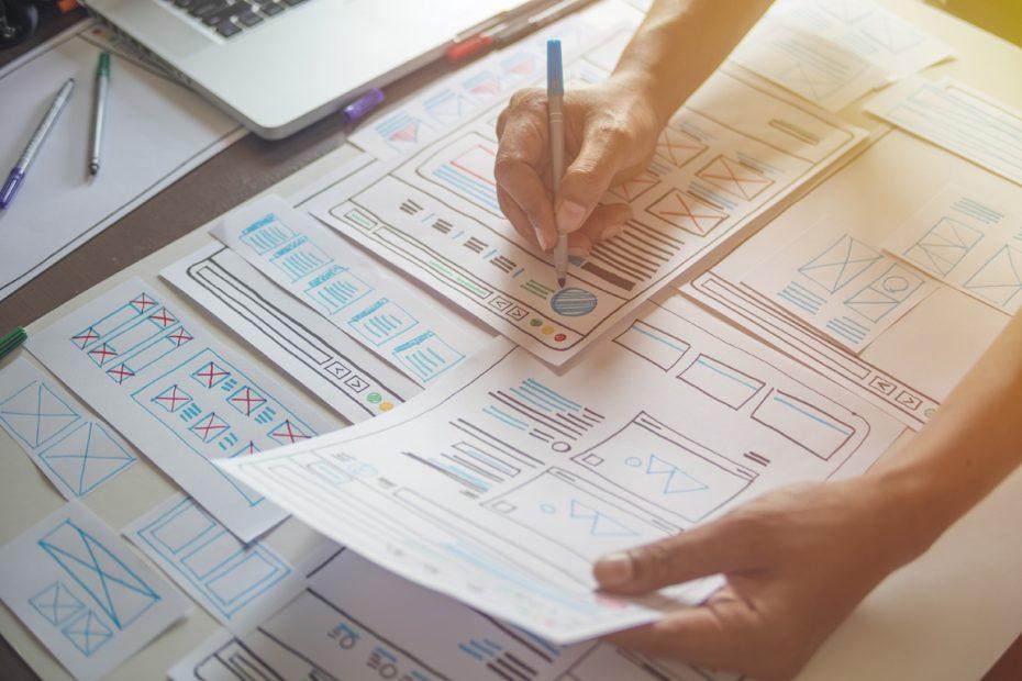 ux designer creative prototype Graphic planning application development . User experience concept.