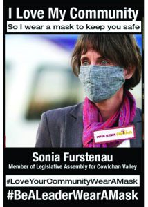 Member of BC Legislature Sonia Furstenau MLA for Cowichan Valley - #MaskingIsAnActOfLove
